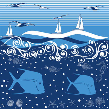 sea bird: Sea World - repeating background - vector illustration