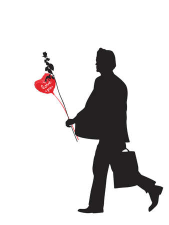 man with heart shaped balloon and rose Vector