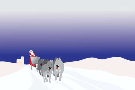 dog sled: Santa pulled by sled dogs on his way to supermarket Illustration