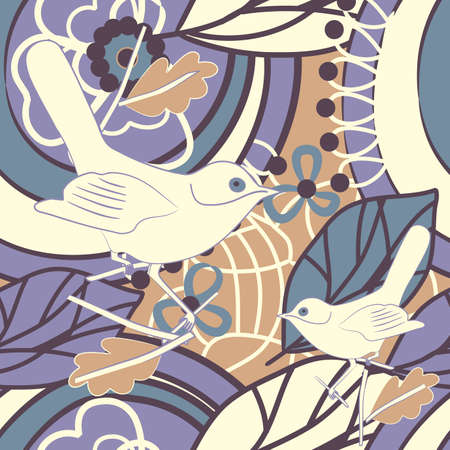 vector wallpaper: seamless vector wallpaper with plants and birds