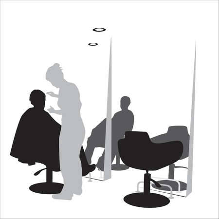 young man in hair styling  salon Vector