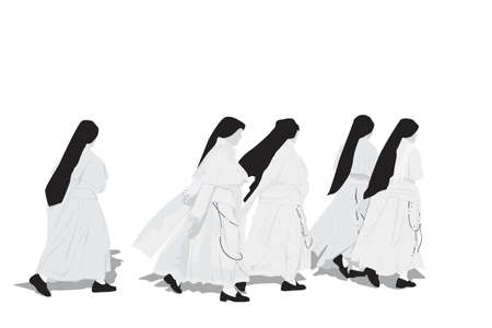 five nuns walking