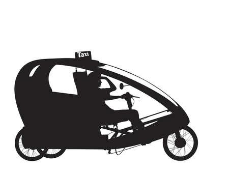 eco tourism: bicycle rickshaw silhouette Illustration
