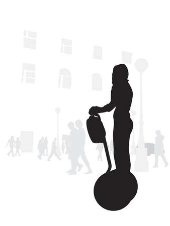 illustration of girl riding segway Illustration