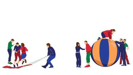 outdoor activities: illustration of corporate team building event