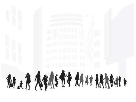 retail scene: illustration of shopping street Illustration