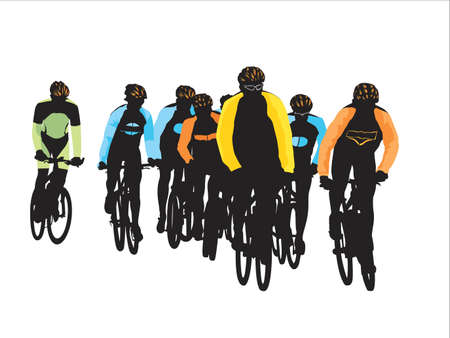 group of bicyclists Vector