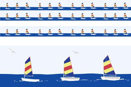 sailboats  motif  including  linear seamless version   Vector