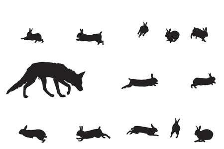 überleben: Illustration von Fuchs und Kaninchen Illustration