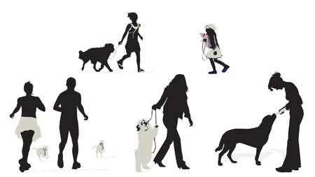 people with their dogs silhouettes
