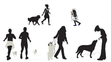 pet bottles: personas con sus perros siluetas