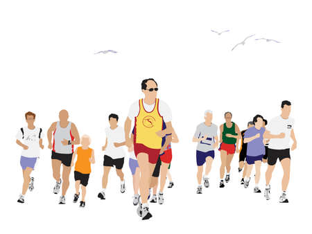 sprint:  large group of people running
