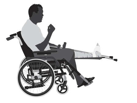 man with broken leg in wheelchair  Illustration