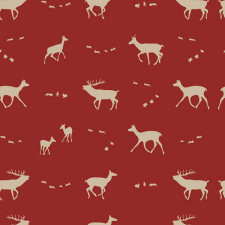 antlers silhouette: seasonal repeating  pattern, vector illustration