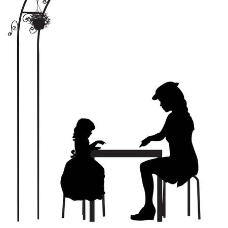 mother and daughter playing game in the garden Vector