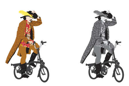 costume party: man dressed  up for a costume party riding bicycle Illustration