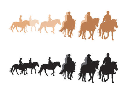 gait: group of children riding fjord horses, two color versions Illustration