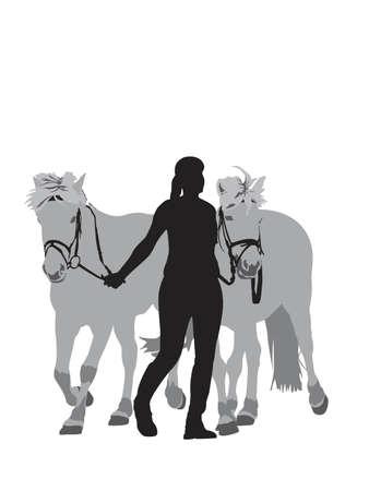 teen girl leading two fjord horses