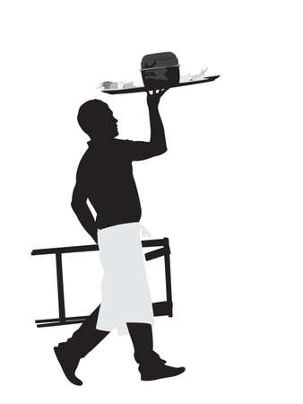 waiter carrying platter with mussel dish Vector