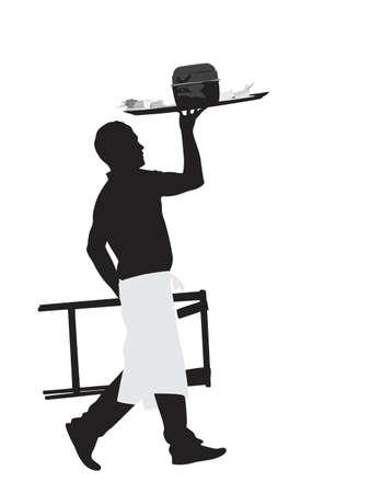 garçon portant assiette de plat de moules