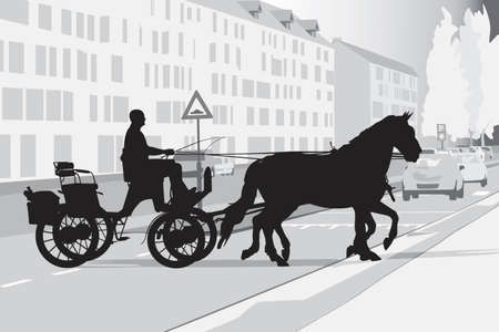 two horse-drawn carriage on the street Vector