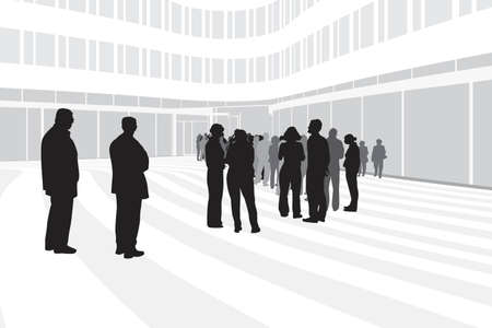 await: people waiting in line on modern corporate building background Illustration