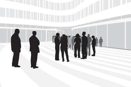 edificio corporativo: personas que esperaban en el fondo moderno edificio corporativo Vectores
