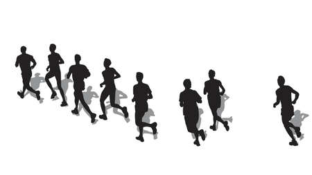 group of male marathon runners  Illustration
