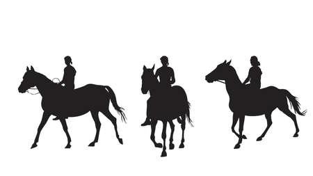 niña de montar a pelo de caballo Ilustración de vector