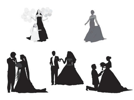 elegant couple: bride and groom silhouettes collection Illustration