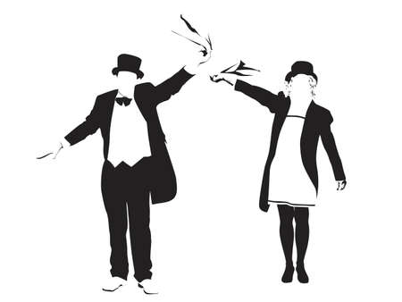 couple waving  Vector