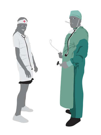 epidemy: doctor and nurse Illustration