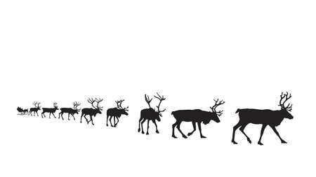 easy: Santas sleigh pulled by eight reindeer, easy editable vector