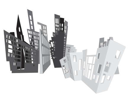 abstract city background, grayscale drawing Vector
