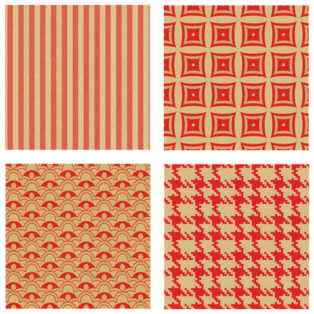 set of four red and gold seamless patterns