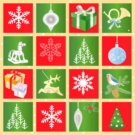 Seamless Christmas pattern with Decorative Design Elements Vector