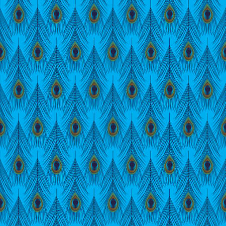 Seamless Peacock Feather Pattern  Vector