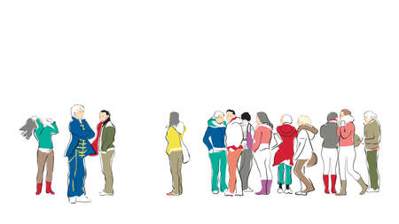 customers: group of casual people waiting in queue