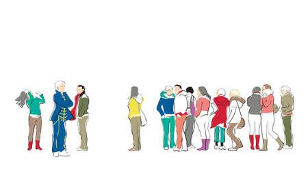 grupo de personas casuales esperando en la cola