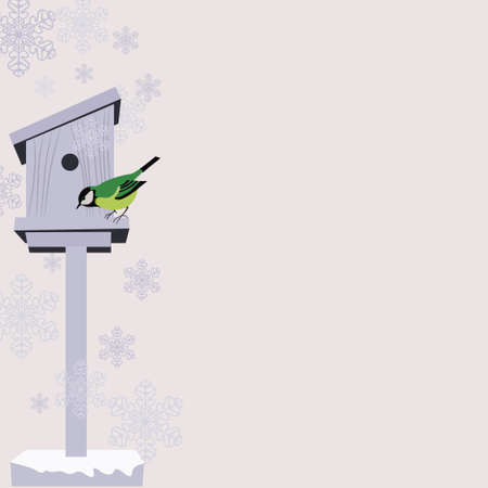 bird house: Christmas Background with Copy Space Illustration