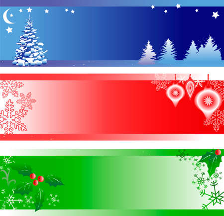 Three Christmas Banners with Copy Space Stock Vector - 5959486
