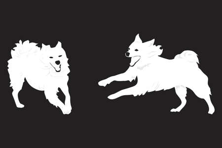 two happy dogs running Vector