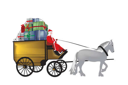 santa carrying splendid gifts,color version Vector