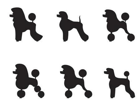 caniche negro recortada en varios estilos Ilustración de vector