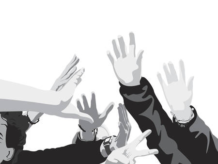 young people raised hands Vector