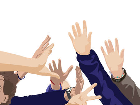 color illustration of young people raised hands