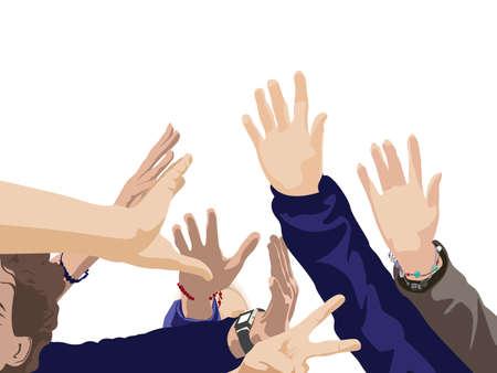 ilustración en color de los jóvenes planteó las manos