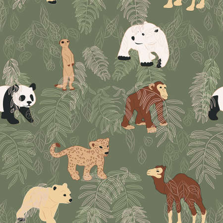 children s: Animal friends; seamless pattern