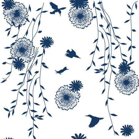repeating blue pattern on white with flowers, dandelions and birds Stock Vector - 6234154