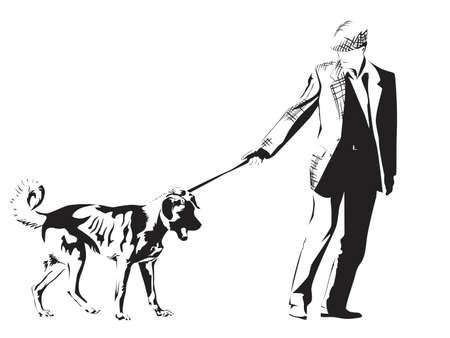 illustration of man walking his dog Vector